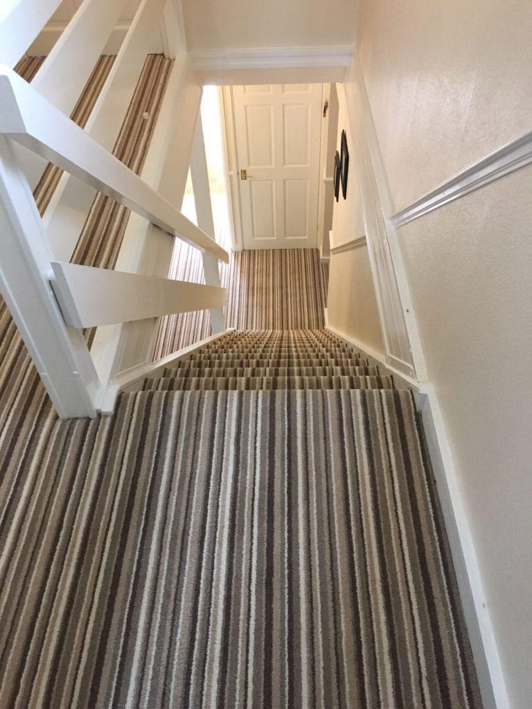 Spectacular Striped Carpet On Stairs Fitted In Plumpton