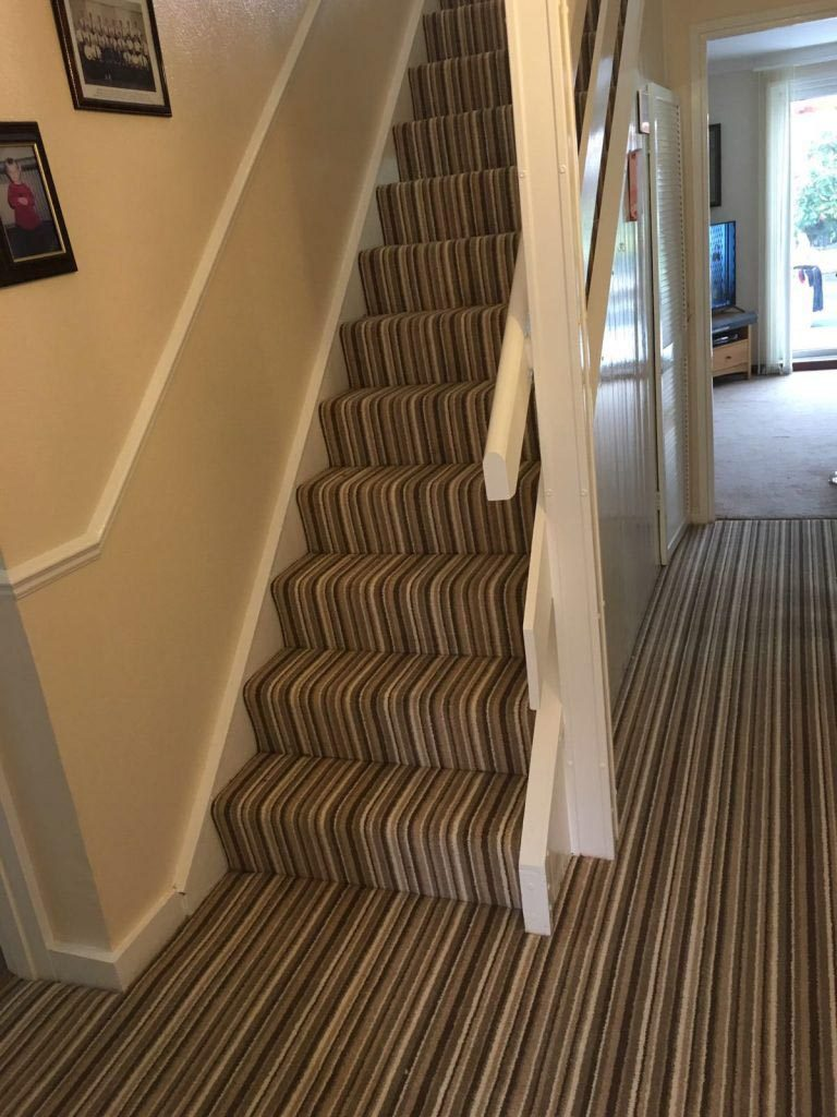 Fantastic Striped Carpet On Stairs And Hallway Fitted In